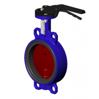 Затвор дисковый поворотный Tecofi тип VPI4448 с рукояткой Ду 32-300, Ру 16 бар